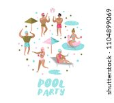 pool party doodle. characters... | Shutterstock .eps vector #1104899069