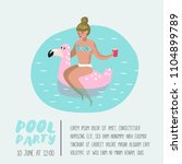 pool party poster  banner.... | Shutterstock .eps vector #1104899789
