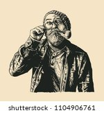perplexed mope eyed old man in... | Shutterstock .eps vector #1104906761