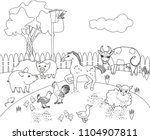 coloring page. rural landscape... | Shutterstock .eps vector #1104907811