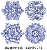 set of blue ethnicity ornament  ...