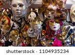 colorful venetian carnival masks | Shutterstock . vector #1104935234