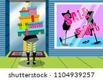 shopping woman stack gift gifts ... | Shutterstock .eps vector #1104939257