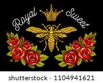 bee crown flowers embroidery... | Shutterstock .eps vector #1104941621