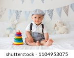 cute toddler child  baby boy ... | Shutterstock . vector #1104953075