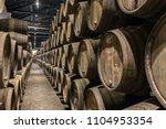 Row Of Wooden Porto Wine...