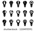 light bulb idea icons set