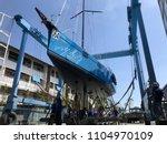 Small photo of Hang up the sailboat with travel lift on 3/03/18 at Phuket Boat Lagoon Marina