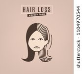 hair loss icon. vector... | Shutterstock .eps vector #1104970544