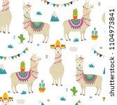 cute cartoon llama alpaca... | Shutterstock .eps vector #1104973841
