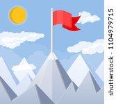 flag on peak of mountain.... | Shutterstock .eps vector #1104979715