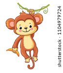 the monkey hangs on a branch... | Shutterstock .eps vector #1104979724