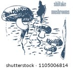 shiitake mushrooms  grow on... | Shutterstock .eps vector #1105006814