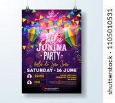 festa junina party flyer...   Shutterstock .eps vector #1105010531
