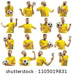 brazilian fan celebrating on... | Shutterstock . vector #1105019831