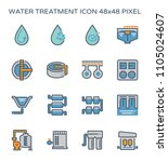 water treatment plant and water ... | Shutterstock .eps vector #1105024607