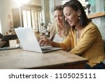 young women working on laptop... | Shutterstock . vector #1105025111