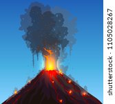 vector volcano eruption. hot... | Shutterstock .eps vector #1105028267