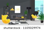 black interior with a yellow... | Shutterstock .eps vector #1105029974