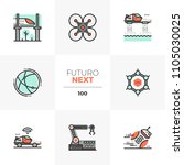 modern flat icons set of future ... | Shutterstock .eps vector #1105030025