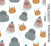 seamless pattern with behemoth  ... | Shutterstock .eps vector #1105037861