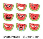 set of cartoon funny watermelon.... | Shutterstock .eps vector #1105048484