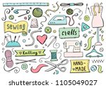 hand drawn set with sewing and... | Shutterstock .eps vector #1105049027