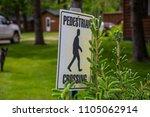 pedestrian crossing sign woods...   Shutterstock . vector #1105062914