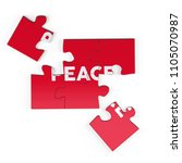 realistic red six pieces of... | Shutterstock . vector #1105070987