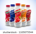 set of drink nonfat yogurt... | Shutterstock .eps vector #1105075544