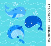 cute whales illustration.... | Shutterstock .eps vector #1105077821
