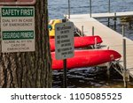 no lifeguard on duty no diving... | Shutterstock . vector #1105085525