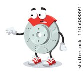 cartoon scared car brake mascot ... | Shutterstock .eps vector #1105088891