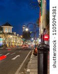 Small photo of Bandung, Indonesia - May 7 2015: Evening Atmosphere at the Historical Road Asia Afrika, Bandung