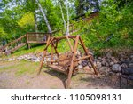 swinging bench chair swing seat ...   Shutterstock . vector #1105098131