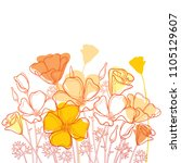 vector bouquet with outline... | Shutterstock .eps vector #1105129607