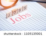 jobs search concept  big red... | Shutterstock . vector #1105135001