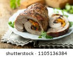homemade meat roulade stuffed... | Shutterstock . vector #1105136384