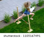 Girl Practices For Hobby Horse...