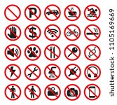 prohibition signs set safety on ...   Shutterstock .eps vector #1105169669