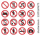 prohibition signs set safety on ... | Shutterstock .eps vector #1105169675