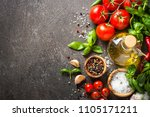 spices  herbs  olive oil and... | Shutterstock . vector #1105171211