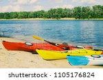 kayaking on the lake concept... | Shutterstock . vector #1105176824