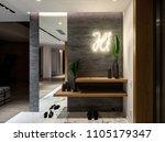 illuminated modern interior... | Shutterstock . vector #1105179347