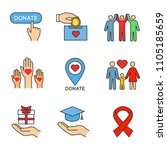charity color icons set. donate ... | Shutterstock .eps vector #1105185659