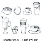 set of coffee drinks  vector... | Shutterstock .eps vector #1105191104