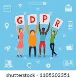 gdpr concept illustration. idea ... | Shutterstock .eps vector #1105202351