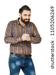 Small photo of man smiling with glee, he rubs his hands isolated on white background