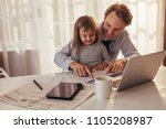 man sitting with his daughter...   Shutterstock . vector #1105208987