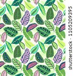 seamless tropical  leaf pattern.... | Shutterstock .eps vector #1105209395